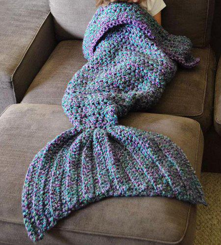 Knitting Pattern Fishtail Blanket : Chic Womens Knitted Fishtail Blanket, BLUE, ONE SIZE(FIT SIZE XS TO M) i...