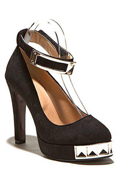 Trendy Suede and Metal Design Pumps For Women - BLACK 35