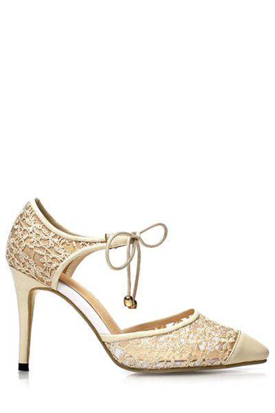 Elegant Lace and Pointed Toe Design Pumps For Women - APRICOT 37
