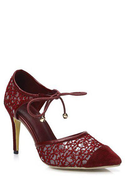 Graceful Lace and Splicing Design Pumps For Women - RED 36