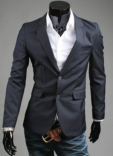 Elegant Turn-Down Collar Pure Color Long Sleeve Men's Blazer - CADETBLUE M