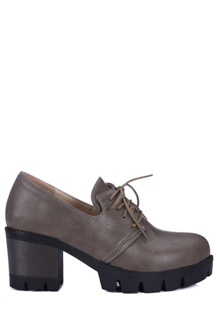 Vintage Lace-Up and Chunky Heel Design Pumps For Women