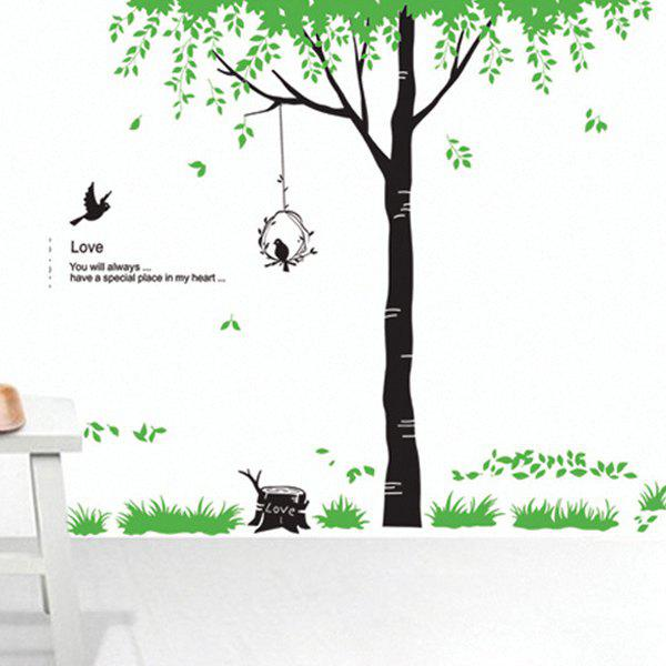 High Quality Green Tree Pattern Removeable Wall Stickers - GREEN