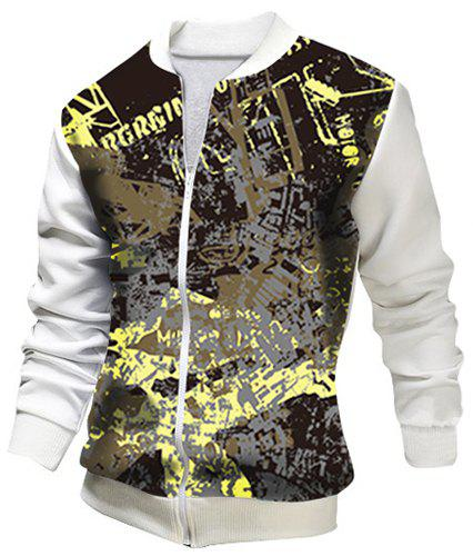 Stand Collar Letters Print Rib Splicing Long Sleeve Slim Fit Men's Jacket - WHITE 2XL