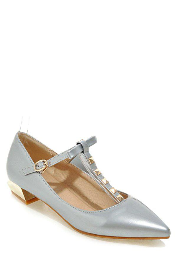 Trendy T-Strap and Rivet Design Flat Shoes For Women - SILVER 38