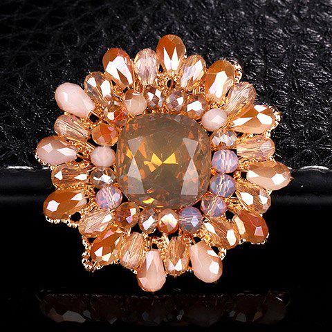 Cute Faux Crystal Sunflower Brooch For Women - CHAMPAGNE
