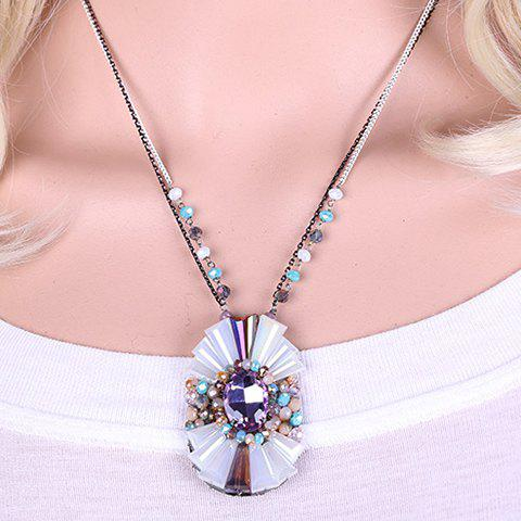 Charming Faux Crystal Geometric Pendant Necklace For Women - PURPLE