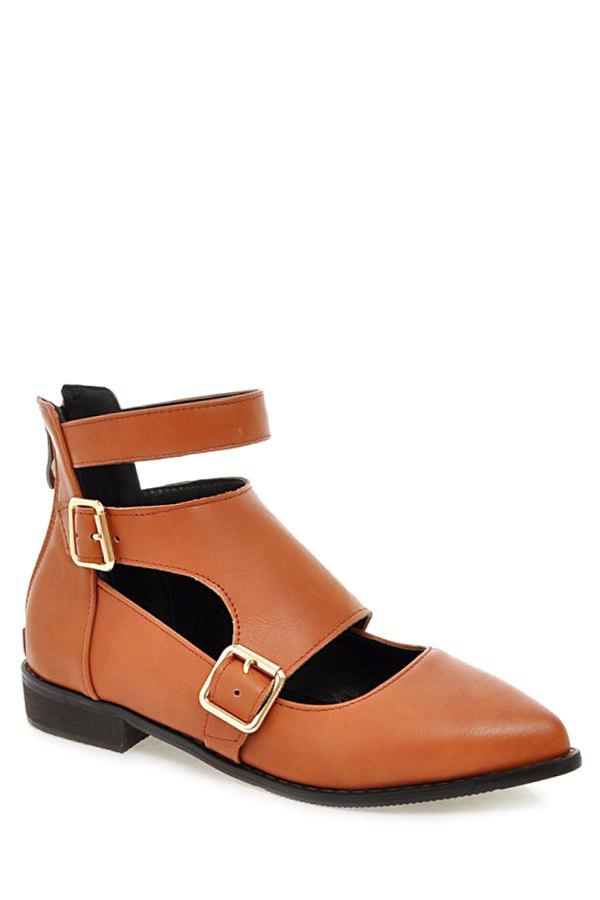 Casual Buckles and Zip Design Flat Shoes For Women - BROWN 39
