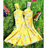 Cute Women's Sweetheart Neck Swan Print Swimsuit - YELLOW L
