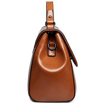 Vintage Cover and Solid Color Design Crossbody Bag For Women - BROWN
