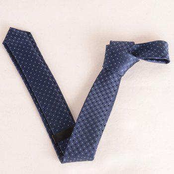 Stylish Small Lattice and Polka Dot Jacquard 5.5CM Width Men's Tie - CADETBLUE