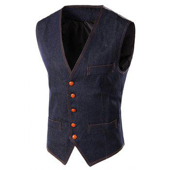 Slimming V-Neck Single Breasted Denim Waistcoat For Men