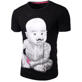Slim Fit Round Collar Pullover Baby Boy Printed T-Shirt For Men