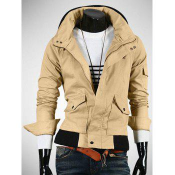 Casual Slim Fit Zip Up Pokets Solid Color Jacket For Men