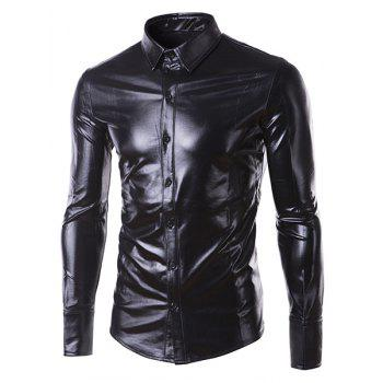 Slim Fit Single Breasted Glossy Coating Turn Down Collar Shirt For Men
