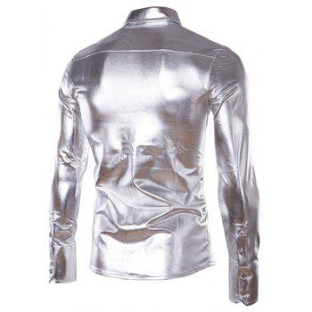 Slim Fit Single Breasted Glossy Coating Turn Down Collar Shirt For Men - SILVER M
