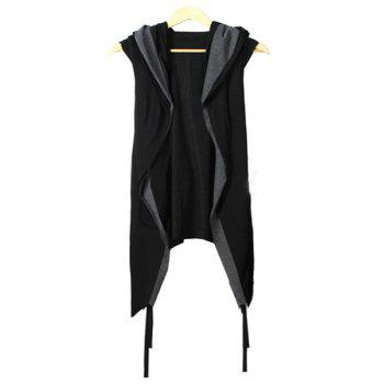 Buy Faux Twinset Irregular Hem Color Block Hooded Sleeveless Men's Knitted Cardigan BLACK