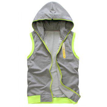 Fashion Hooded PU Leather Spliced Color Block Slimming Sleeveless Hoodie For Men