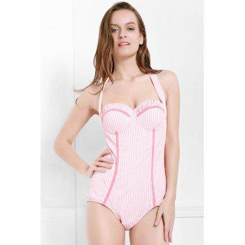 Endearing Striped Halter One-Piece Swimwear For Women