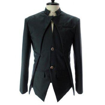 Stand Collar Splicing Design Faux Twinset Long Sleeve Men's Blazer