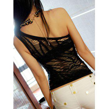Sexy Black One-Shoulder Cut Out Ripped Dancing T-Shirt For Women - ONE SIZE(FIT SIZE XS TO M) ONE SIZE(FIT SIZE XS TO M)