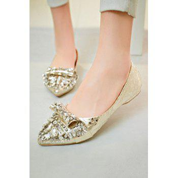Bling Bling Rhinestones and Solid Color Design Flat Shoes For Women - 37 37