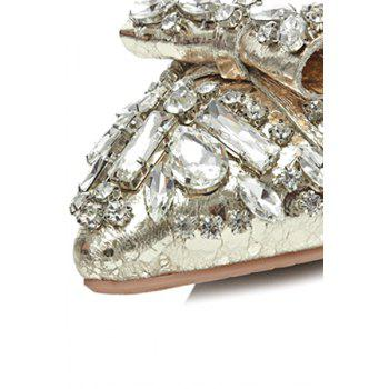 Bling Bling Strass et Solid Color Design Flat chaussures pour femmes - Or 37