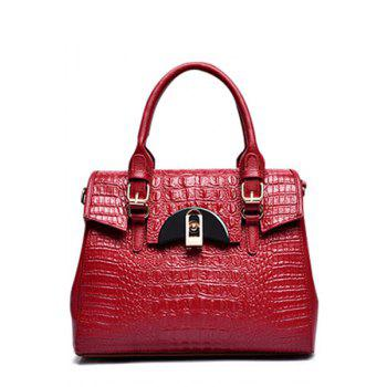 Trendy Crocodile Print and Hasp Design Tote Bag For Women