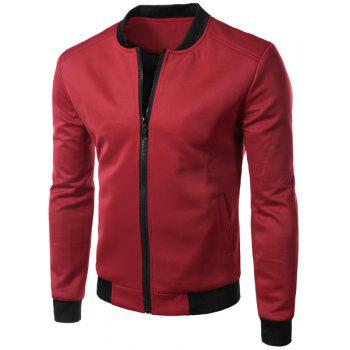 Casual Stand Collar Solid Color Zipper Jacket For Men