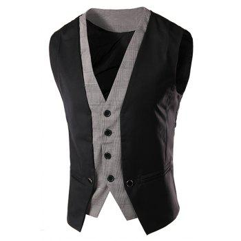 Slimming V-Neck Single Breasted Color Block Waistcoat For Men
