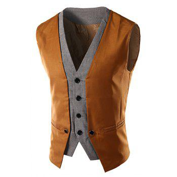 Slimming V-Neck Single Breasted Color Block Waistcoat For Men - CAMEL M
