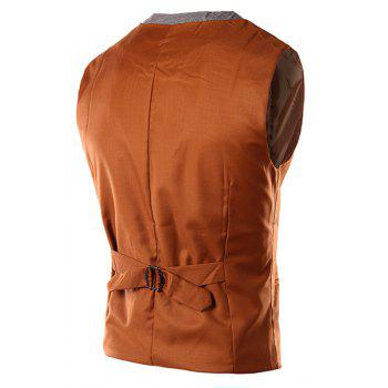 Slimming V-Neck Single Breasted Color Block Waistcoat For Men - CAMEL L
