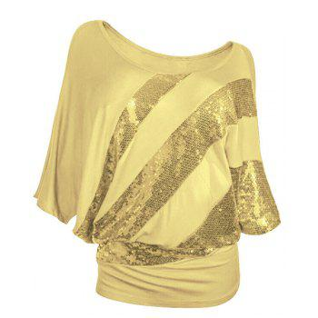 Women's Chic Sequined 1/2 Sleeve Bat Sleeve T-Shirt