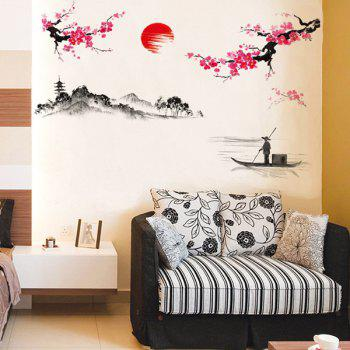High Quality Plum Blossom Pattern Lake Landscape Removeable Wall Sticker - COLORMIX