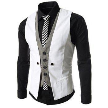 Single Breasted Color Block Faux Twinset V-Neck Sleeveless Men's Waistcoat - WHITE WHITE