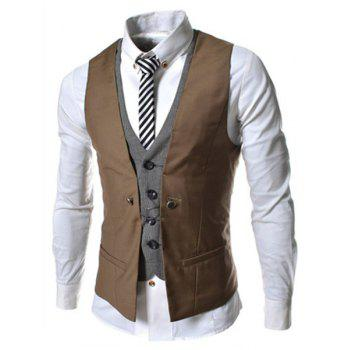 Single Breasted Color Block Faux Twinset V-Neck Sleeveless Men's Waistcoat - BROWN M