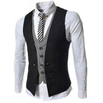 Buy Single Breasted Color Block Faux Twinset V-Neck Sleeveless Men's Waistcoat BLACK
