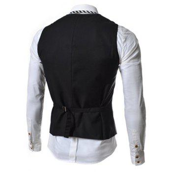 Single Breasted Color Block Faux Twinset V-Neck Sleeveless Men's Waistcoat - BLACK BLACK