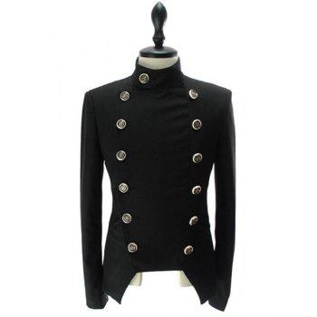 Stand Collar Double-Breasted Solid Color Long Sleeve Men's Blazer