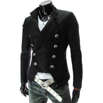 Stand Collar Double-Breasted Solid Color Long Sleeve Men's Blazer - BLACK M