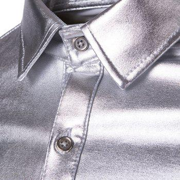 Slim Fit Single Breasted Glossy Coating Turn Down Collar Shirt For Men - SILVER XL