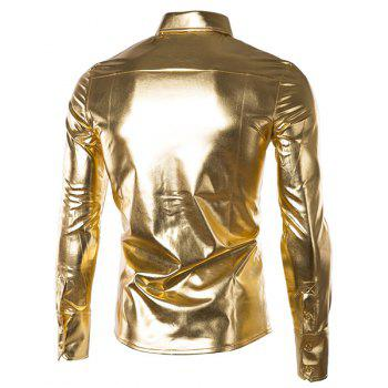 Slim Fit Single Breasted Glossy Coating Turn Down Collar Shirt For Men - GOLDEN M