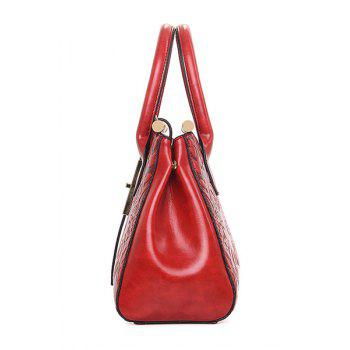Chinese Style Embossing and Metal Design Tote Bag For Women - WINE RED