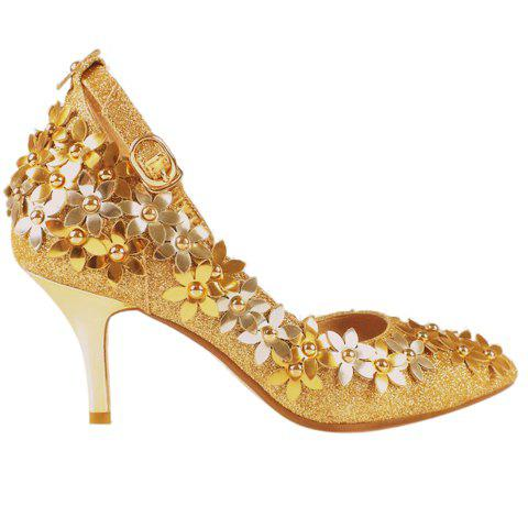 Graceful Sequins and Flowers Design Pumps For Women - GOLDEN 34