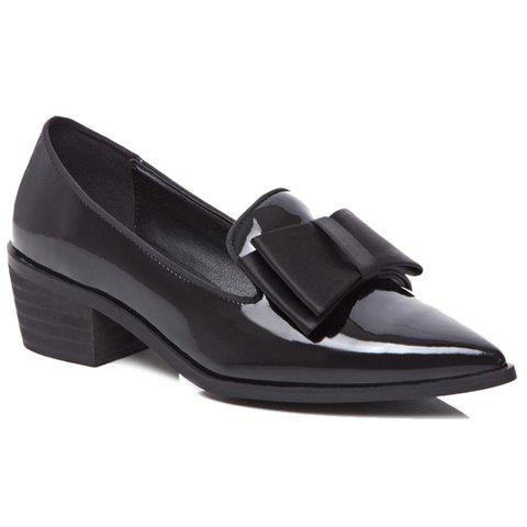 Sweet Patent Leather and Bowknot Design Pumps For Women - BLACK 34