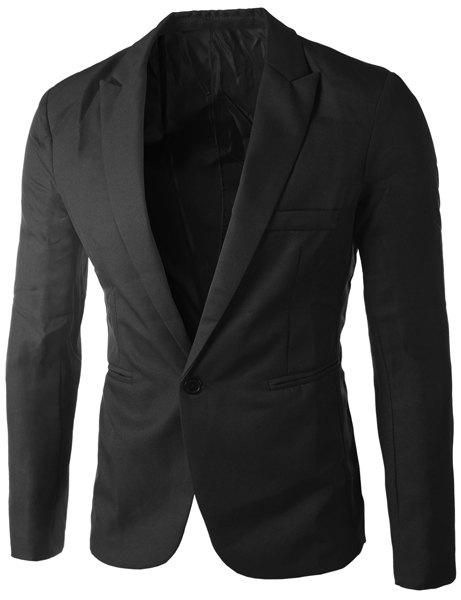 Casual Single Button Tailored Collar Solid Color Blazer For Men - BLACK 2XL