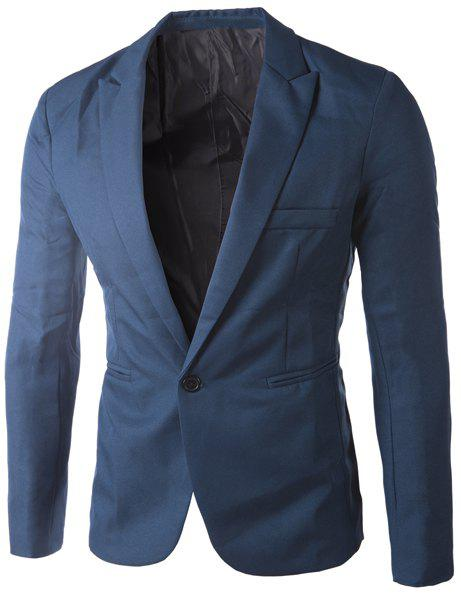 Casual Single Button Tailored Collar Solid Color Blazer For Men - SAPPHIRE BLUE M