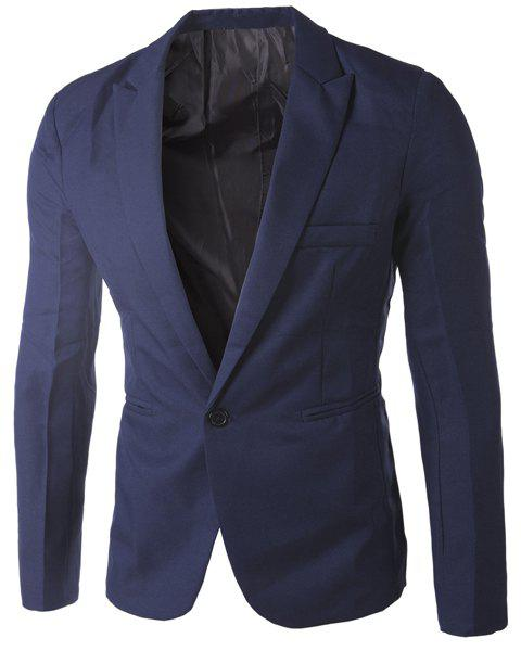 Casual Single Button Tailored Collar Solid Color Blazer For Men - CADETBLUE 2XL