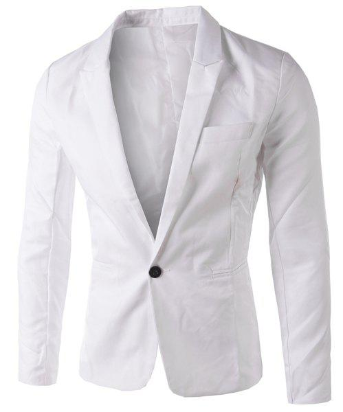 Casual Single Button Collier sur mesure Blazer en couleur solide pour hommes - Blanc XL