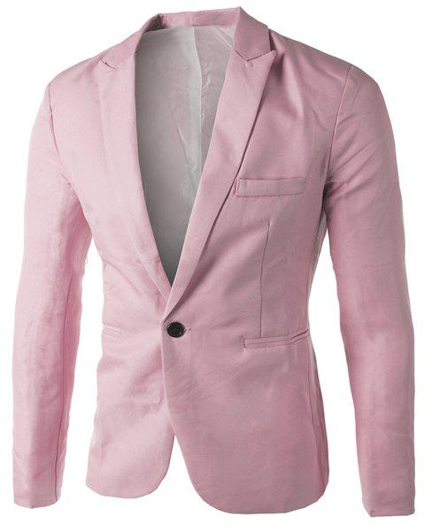 Casual Single Button Collier sur mesure Blazer en couleur solide pour hommes - Rose 2XL